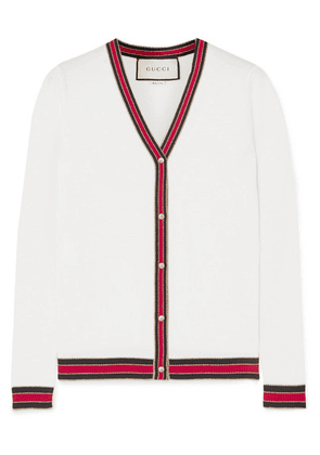 Gucci - Striped Wool Blend-trimmed Wool Cardigan - Ivory