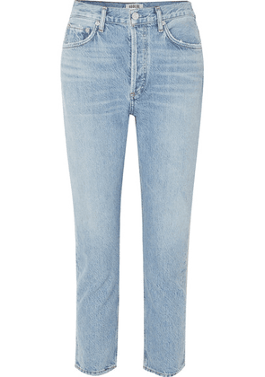 AGOLDE - Riley Cropped Organic High-rise Straight-leg Jeans - Light denim