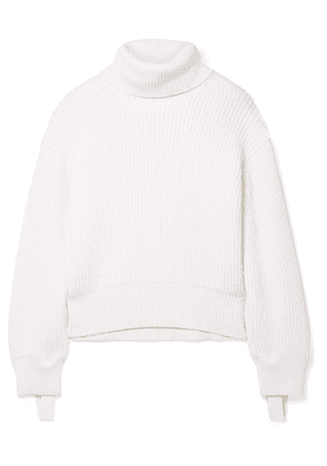 Helmut Lang - Canvas-trimmed Ribbed Wool And Cotton-blend Turtleneck Sweater - Ivory