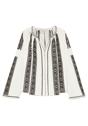 The Great - The Journey Embroidered Cotton-gauze Top - White