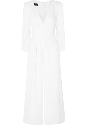 Talbot Runhof - Silva Cropped Cape-effect Ruched Crepe Jumpsuit - White