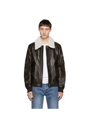 db39c0a5794 Belstaff | Arne Shearling-trimmed Leather Bomber Jacket | Black ...