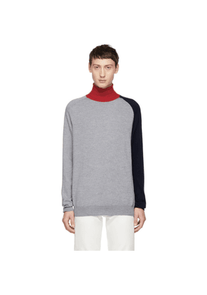 Band of Outsiders Grey Colorblocked Turtleneck