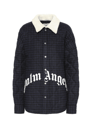 Logo checked wool-blend jacket