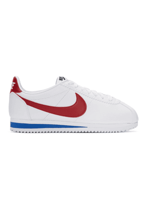 Nike White Leather Classic Cortez Sneakers