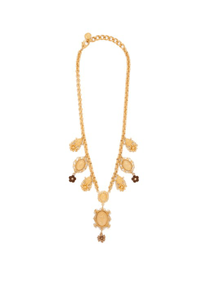 Dolce & Gabbana - Charm & Faux Pearl Necklace - Womens - Gold