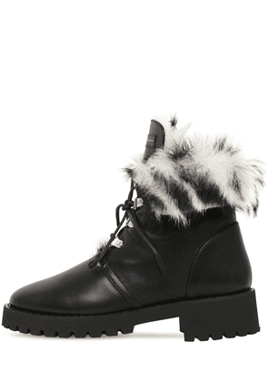 20mm Fur & Leather Combat Boots