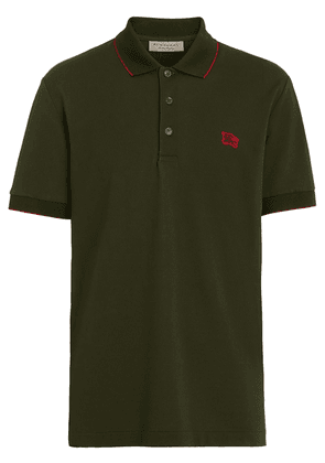 Burberry Tipped Cotton Piqué Polo Shirt - Green