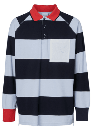 Burberry Long-sleeve Striped Cotton Piqué Polo Shirt - Blue
