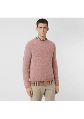 Burberry Rib Knit Cashmere Cotton Blend Sweater, Pink