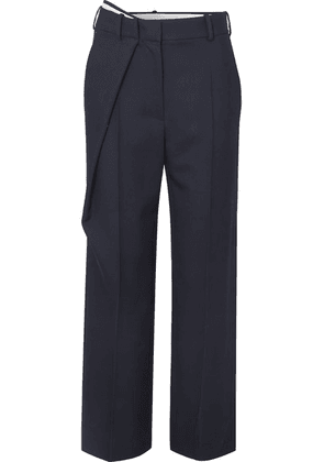 Cédric Charlier - Wrap-effect Wool-twill Straight-leg Pants - Navy