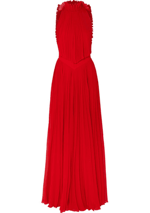 Givenchy - Open-back Ruffled Plissé-silk Georgette Halterneck Gown - Red