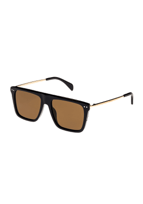 Bold Rectangular Acetate/Metal Sunglasses