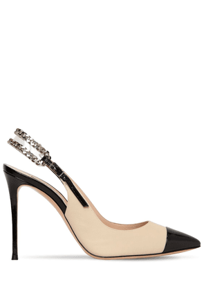 100mm Chained Leather Sling Back Pumps