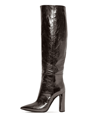 100mm Tall Metallic Leather Boots