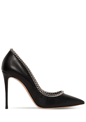 100mm Chained Leather Pumps