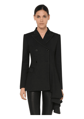 Draped Double Breasted Crepe Jacket