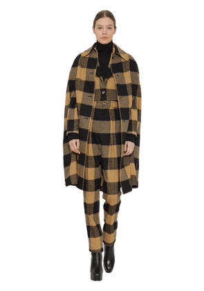 Long Plaid Wool And Cotton Blend Cape