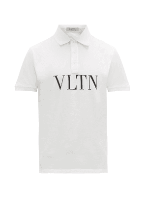 Valentino - Vltn Logo Print Cotton Piqué Polo Shirt - Mens - White