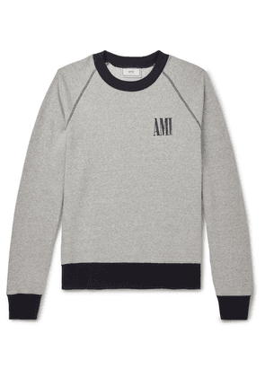 AMI - Logo-print Mélange Fleece-back Cotton-jersey Sweatshirt - Gray