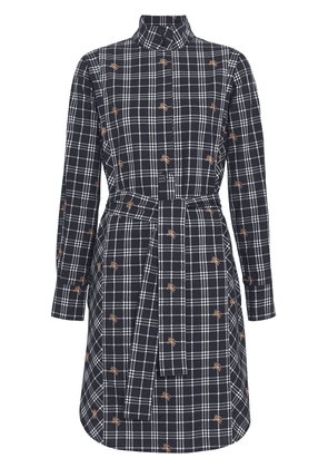 Burberry Fil Coupé Check Cotton Tie-waist Shirt Dress - Blue