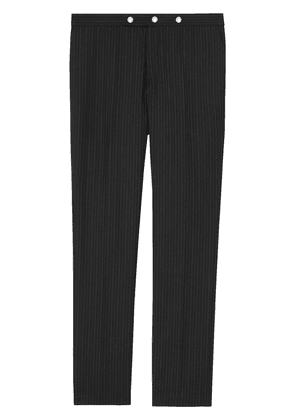 Burberry Classic Fit Pinstriped Wool Tailored Trousers - Black