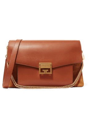 Givenchy - Gv3 Medium Textured-leather And Suede Shoulder Bag - Tan