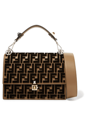 Fendi - Kan I Flocked Leather Shoulder Bag - Brown