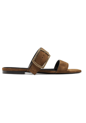 SAINT LAURENT - Oak Suede Slides - Tan