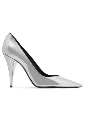 SAINT LAURENT - Kiki Mirrored-leather Pumps - Silver