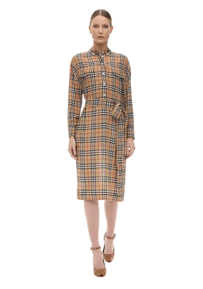 Check Print Silk Shirt Dress