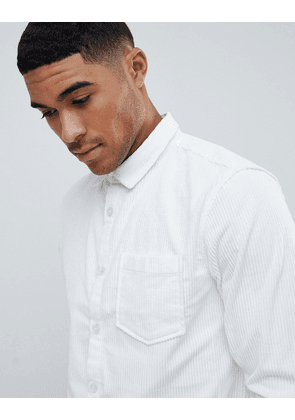 River Island regular fit cord shirt in white