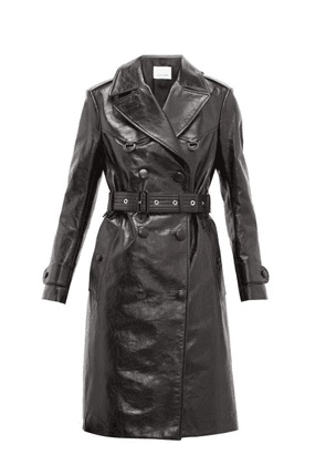 Burberry - Tintagel Double Breasted Leather Trench Coat - Womens - Black