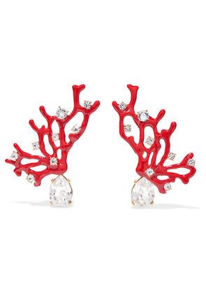 Kenneth Jay Lane - Gold-tone, Enamel And Crystal Clip Earrings - Red