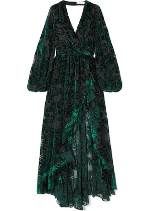 Caroline Constas - Olivia Open-back Flocked Chiffon Gown - Emerald