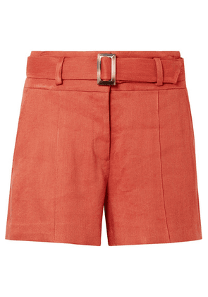 Veronica Beard - Makayla Belted Linen-blend Shorts - Orange