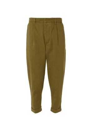 AMI - Pleated Cotton-twill Chinos - Green
