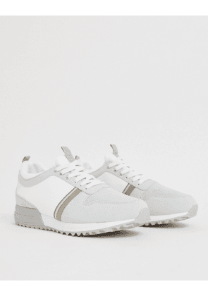 River Island trainers with mixed detail in white