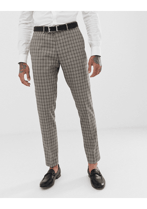River Island wedding skinny fit suit trousers in brown check