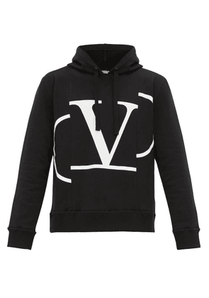Valentino - Deconstructed Vlogo Print Hooded Sweatshirt - Mens - Black