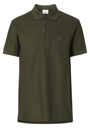 Burberry Monogram Motif Cotton Piqué Polo Shirt - Green