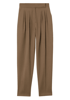 Burberry Pleat Detail Wool Twill Tailored Trousers - Brown
