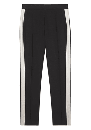 Burberry Straight Fit Silk Stripe Wool Tailored Trousers - Black
