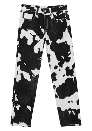 Burberry Straight Fit Cow Print Jeans - Black