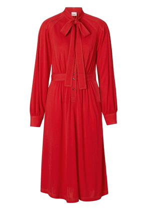 Burberry Topstitch Detail Jersey Tie-neck Dress - Red