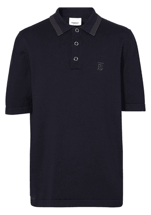 Burberry Monogram Motif Cotton Polo Shirt - Navy