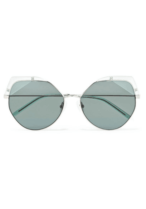 For Art's Sake - Fruity Cat-eye Silver-tone And Acetate Sunglasses - Blue