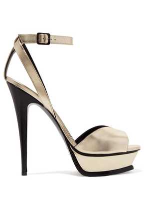 SAINT LAURENT - Tribute Metallic Leather Platform Sandals - Gold