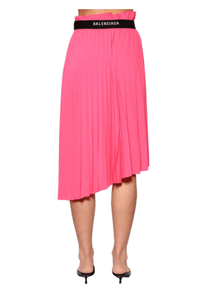 Pleated Jersey Midi Skirt