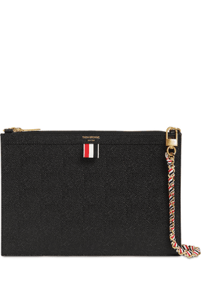 Small Grained Leather Zip Clutch